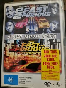 2 Fast 2 Furious + The Fast And The Furious(Tokyo Drift)2 Movie Pack Dvds