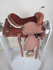 """Pony Youth Kids Leather Western Barrel Trail  Saddle 10"""" Laced Cantle Sued"""