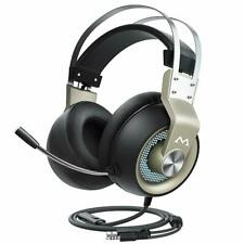 Wired Gaming Headset Stereo Surround Sound Mic Over Ear Soft Earmuff LED Light
