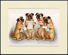 PUG DOGS SINGING CHARMING DOG PRINT MOUNTED READY TO FRAME
