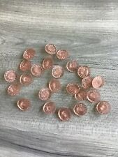 Lot Of 24 Vintage Glass Buttons, Pink Sunflower Flowers