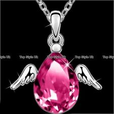 Angel Wings Rose Quartz Silver Necklace Pendant Chain Gifts for Her Women GF F6
