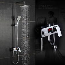 Bathroom Mixer Shower System Set LCD Display Rain Shower Head w/Hand Sprayer UK