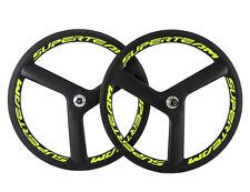 Tri Spoke 56mm Carbon Wheelset 3 Spoke Carbon Bike Wheels Yellow Colour Wheelset