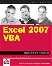 NEW Excel 2007 VBA Programmer's Reference by John Green
