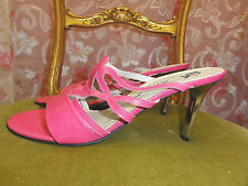 NEW PETER KAISER PINK LEATHER SANDALS SILVER HEELS SIZE 10 USA