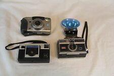 Camera Lot Of 3 Kodak Instamatic X-15, 304, Minolta Vectis 40 & Vintage Flash