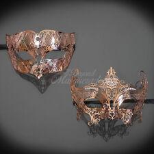 Couples Masquerade Mask, Rose Gold Mardi Gras Masquerade Ball Mask M7156, M7142