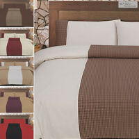 Luxury Jacquard Check Design Duvet Quilt Cover Bedding Set + Pillowcases