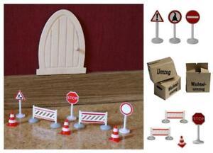 Miniatur Verkehrsschilder 2,5-5 cm Pylonen Absperrung Baustelle - Wichtel Einzug