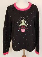Ugly Christmas Sweater Mandal Bay Size L Black Pink Fuzzy Trim Tree Long Sleeve