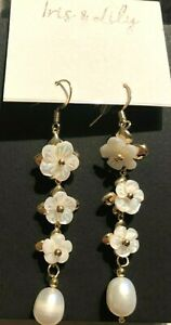 Iris & Lily Gold tone Fresh water Pearl & Mother of Pearl Earrings. NEW