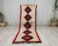 "Moroccan Handmade Vintage Rug 2'2""x7'2"" White Red Geometric  Berber Wool Carpet"