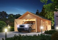 40mm Blockbohlen Garage Satteldach naturbelassen