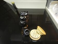 Black Owl Ceramic Tobacco Pipe w/Wood Grinder Contains No Glass  1550N + G