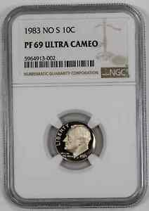 1983 NO 'S' PROOF ROOSEVELT DIME 10C NGC CERTIFIED PF 69 - ULTRA CAMEO (002)