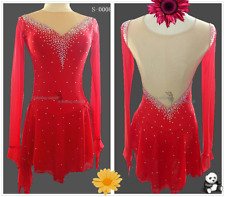 Ice Figure Skating Dresses Custom Women Competition Skating Dress Girls Red
