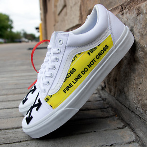 White Vans Old Skool x OFF White Custom Handmade Shoes By Patch Collection