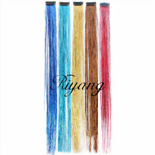 5PCS/LOT Hair Tinsel 5 Colors Long Straight Clip on Hair Extension One Piece 18""