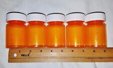 Lot of 5 Clean Used Amber Plastic Prescription Bottles w/Locking Lids Same Sz