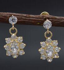 JM19 14K Solid Yellow Gold 16mm Flower White Cubic Zirconia CZ Dangle Earrings