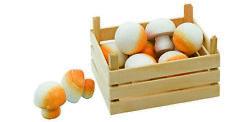 Holz-Champignons Pilze mit Gemüsekiste für Kaufmannsladen Holzküche Holzküche
