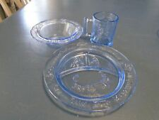 3 Piece Set of Tiara Indiana Glass in Blue w/Mother Goose