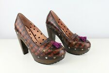 PAUL SMITH (UK 4) IT 37 Mock Croc Leather Tassel Loafer Heels Court Shoes Brown