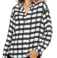 Ladies UK Size 16 Black White Checked Shirt Blouse