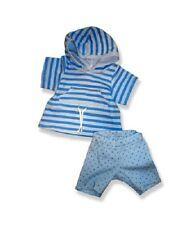"Blue stripe top leggins outfit teddy bear clothes fits 15"" Build a Bear"