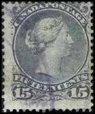 Canada #29 used VG-F 1868 Queen Victoria 15c grey violet Large Queen CDSCV$22.50