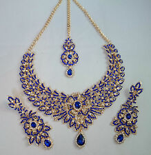 Indian Bollywood Gold Blue Crystal Jewellery set inc Necklace Earring and Tikka