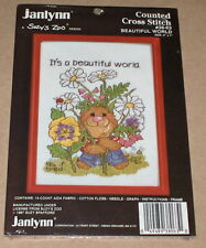 "1987 Suzy's Zoo ""It's A Beautiful World"" Cross Stitch Kit w/ Frame 5x7"""