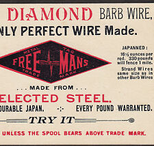 Antique Barbed Wire Freemans Diamond Galvanized Steel Barb Wire Advertising Card