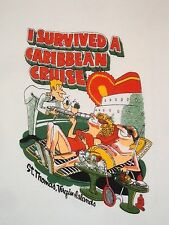 Vintage Caribbean Cruise St. Thomas Virgin Islands I Survived Tourist T Shirt S