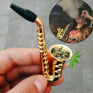 "3.82"" Saxophone Style Mini Portable Smoking Pipes Metal Pipe Smoking Accessory"