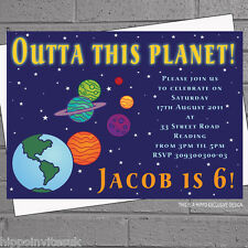 Space Solar System Planets Childrens Kids Birthday Invitations x 12+env H0033