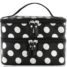 Women Double Layer Travel Cosmetic Bag Makeup Case Toiletry Organizer White Dots