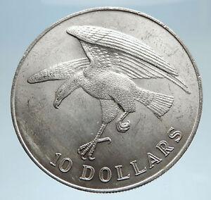 1973 SINGAPORE w Sea Eagle Genuine Antique Genuine Silver 10 Dollars Coin i75051