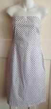 Unworn + Tags - Ladies White Polka Dot Strapless Shift Dress  - Size 16 - Bay