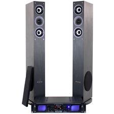 "Pair Fenton 6.5"" Black Home Hifi Column Speakers MP3 USB SD Amplifier Cables"
