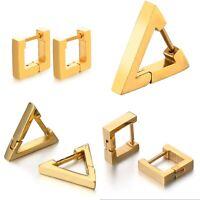 1 Paar Dreieck Creole Quadrat Edelstahl Ohrringe gold Klappcreole eckig