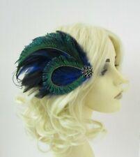 Blue Black Green Peacock Feather Fascinator Hair Clip 1920s Cocktail Vtg 0691