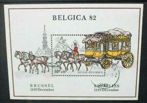 BELGIUM 1982 Belgica 82: Mail Coach. SOUVENIR SHEET. USED/CTO. SGMS2743.