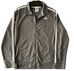 Adidas Youth Track Tricot Three Stripe Gray/White Jacket Size 14/16