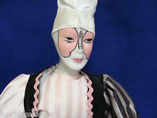 """1970'S HARLEQUIN 18"""" JESTER DOLL/CLOWN-PORCELAIN-CLOTH BODY-METAL STAND-BUTTERFL"""