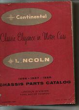 CONTINENTAL    LINCOLN 1956  1957  1958   parts catalog