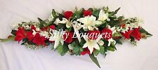 ARTIFICIAL SILK FUNERAL FLOWERS COFFIN SPRAY ANY COLOUR MEMORIAL LARGE