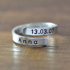Personalized Spiral Ring, Alloy Custom Name Ring, Engraved Personalized Jewelry