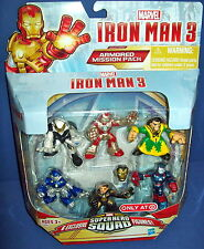 Marvel SUPERHERO SQUAD 6 FIGURE PACK IRON MAN 3 ARMORED MISSION ironman target
